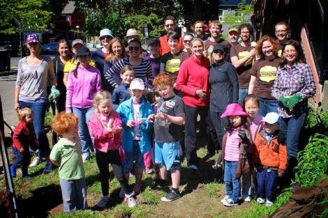Group shot from a dig-in for a new native plant garden at Charles G Fraser Public School on May 25.