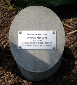 Plaque for tree dedicated to Gordon McClure